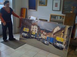Impression sur toile avec montage châssis 2010 (bleu déménagement)