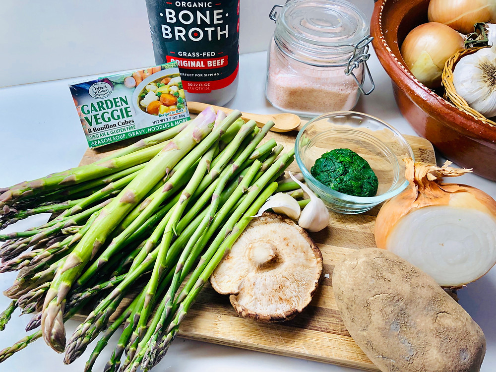 Asparagus and other soup ingredients