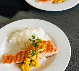 "Pan Grilled Salmon with a Garlicky Mango Salsa and Grain-Free Shirataki ""Rice"""