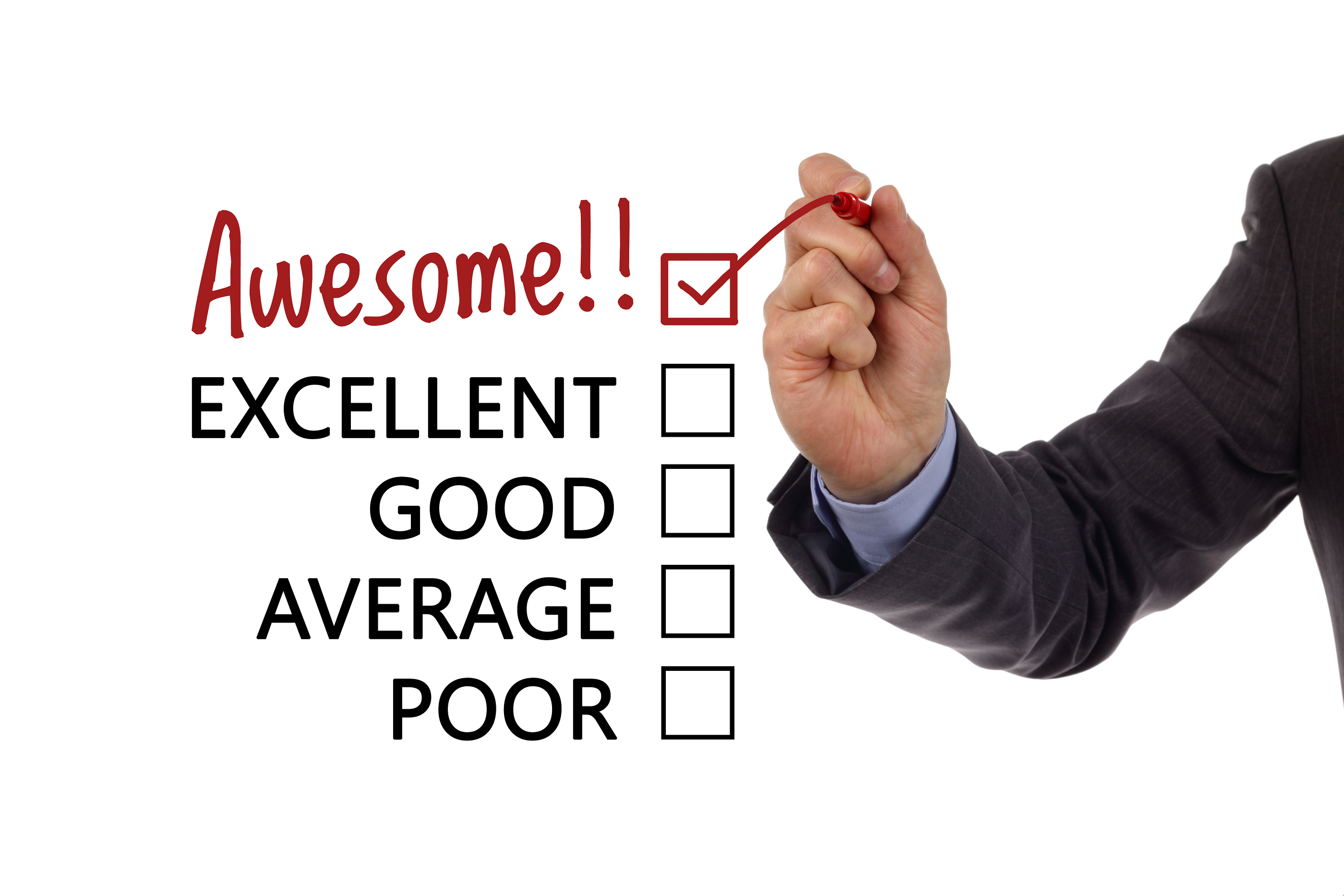 Tick placed in awesome checkbox on customer service satisfaction survey form.jpg