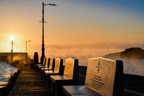 Remembrance benches on the pier