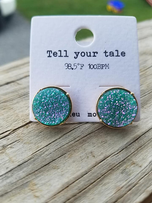 Teal Mermaid Druzy Earrings