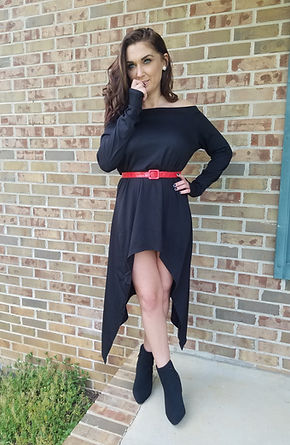 High-Low Blackoff the shoulder dress in size Medium