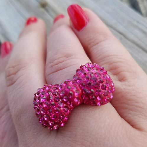 Hot Pink Bow Stretch Ring