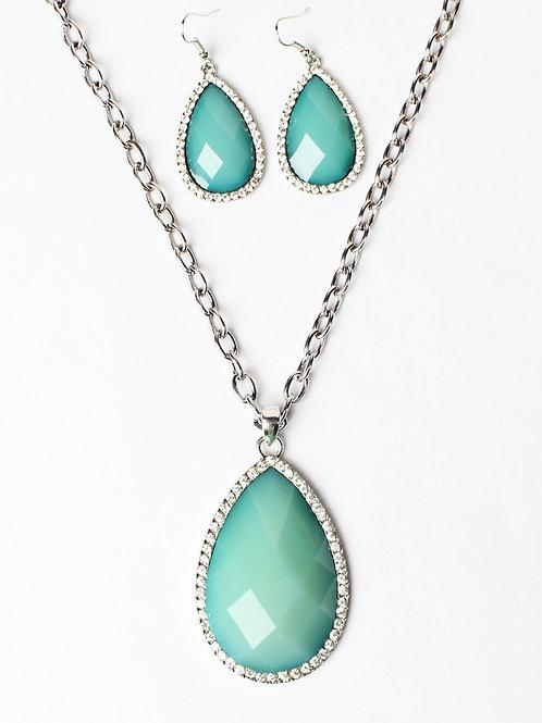 Aqua Tear Drop Necklace & Earring Set, Silver