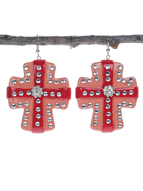 Large Terra Cotta & Red Cross Statement Earrings