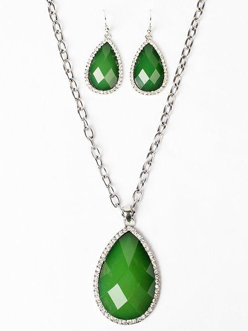 Green Tear Drop Necklace & Earring Set, Silver