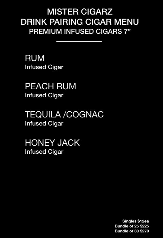 MISTER CIGARZ DRINK PAIRING