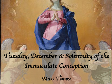 Mass Times for the Solemnity of the Immaculate Conception