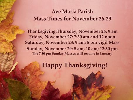 Thanksgiving Weekend Mass Schedule