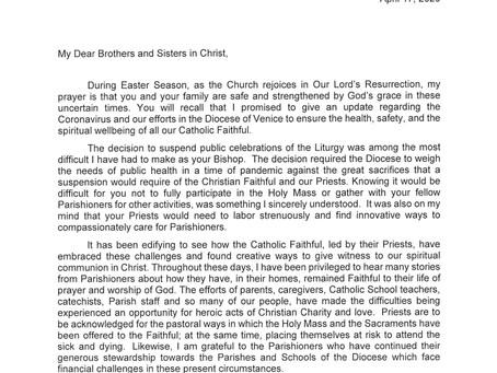 Letter to Parishioners from Bishop Frank J. Dewane