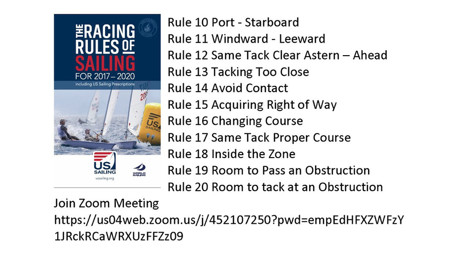 Racing Rules in Brief, April 1, 6:00pm