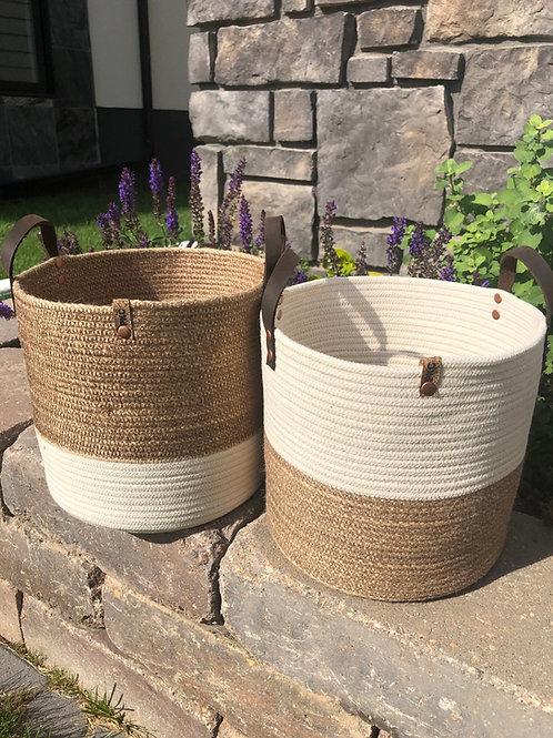 Natural and Hemp Handled Baskets (X-Large)