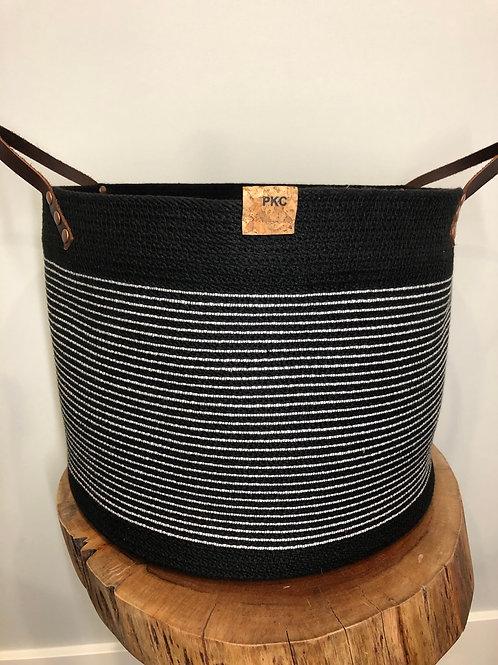 Black with White Stripe Handled Basket (X-Large)