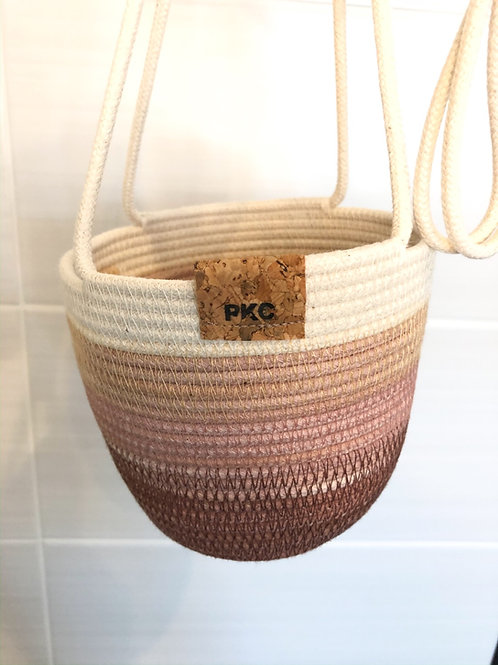 Coffee, Pink and Blush Hanging Basket (Small)
