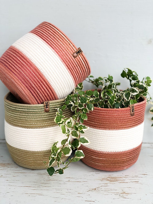 Wide Stripe Basket (Large)