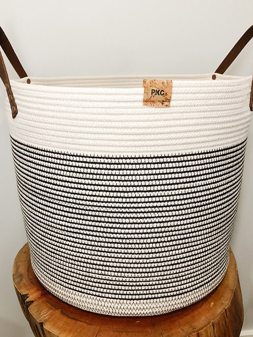 Black Stitch Handled Basket (X-Large)