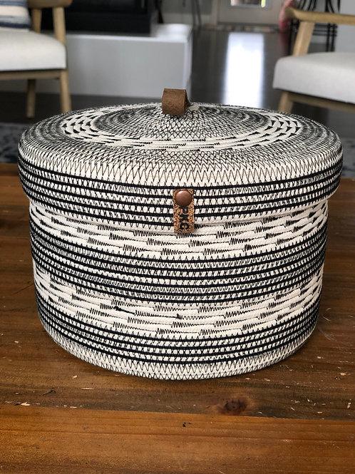 Black Arrow Stitch Basket with Lid (Large)