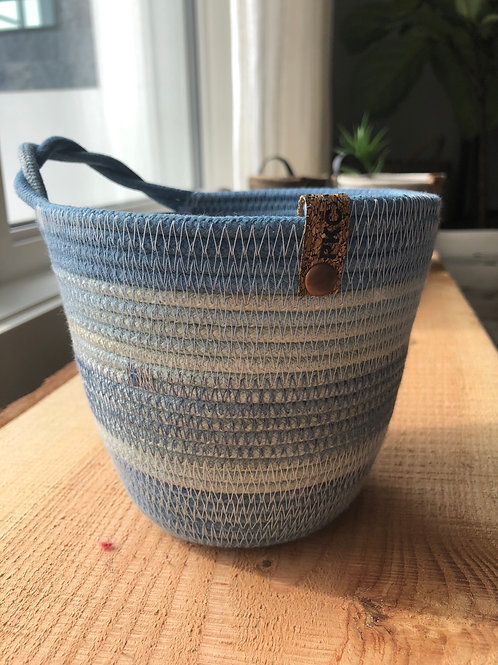 Blue Twisted Handle Basket (Small)