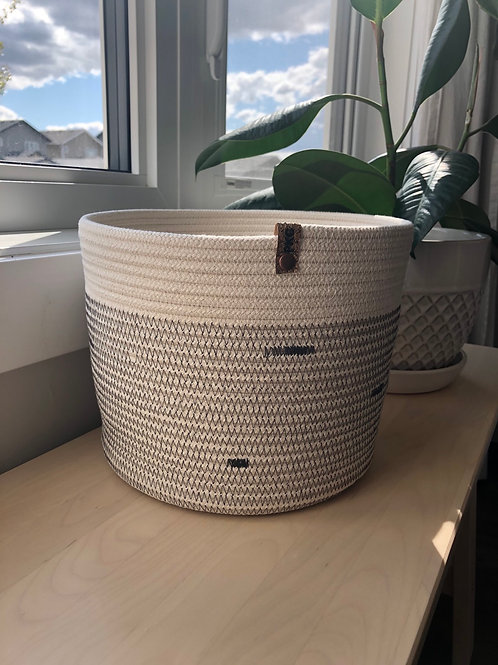 Cream and Charcoal Stitch Basket (Large)