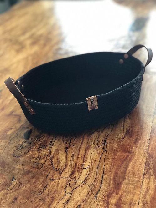 Oblong Black Handled Bread Basket