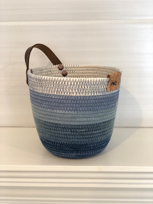Blue Variegated Handled Basket (Small)