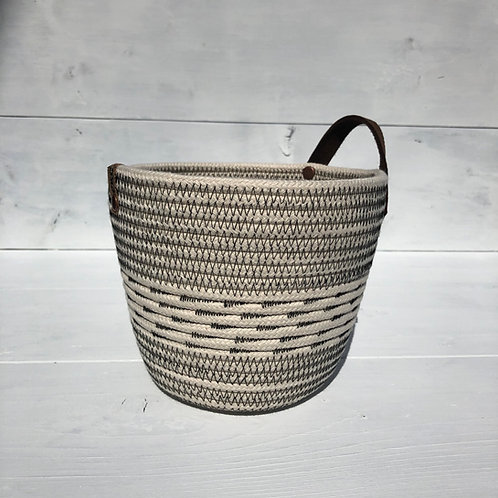 Black Stitch Basket with Handle (Small)