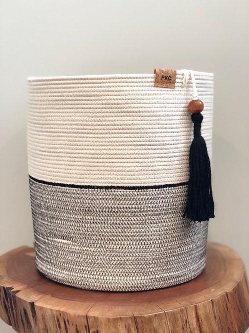 Cream and Black Stitch Basket (X-Large)