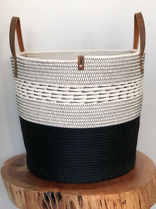 Black with Arrow Stitch Basket (Sizes Available)