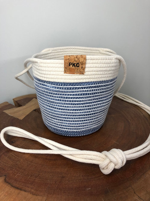 Blue and White Stripe Hanging Basket (Small)