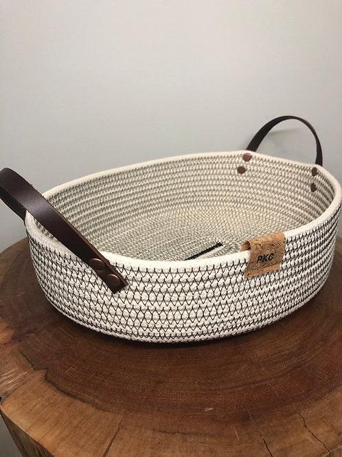 Oblong Black Stitch Handled Bread Basket