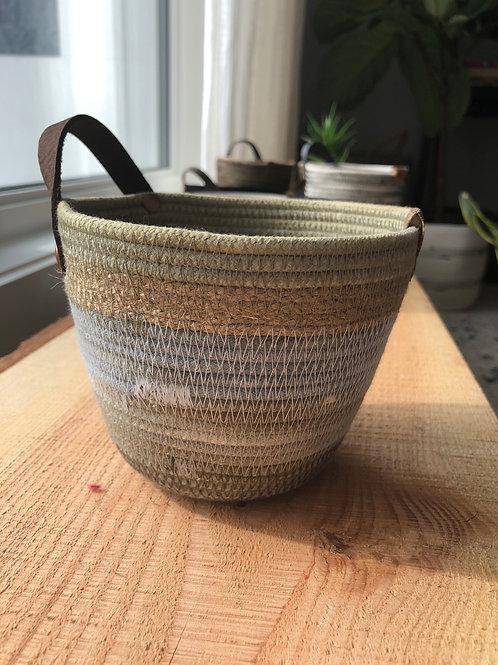 Grey/Green Handled Basket