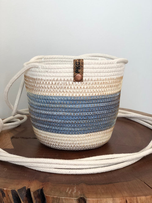 Blue with Variegated Thread Hanging Basket (Small)