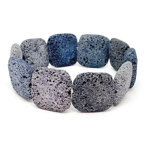 Armband van grote stoere lavakralen