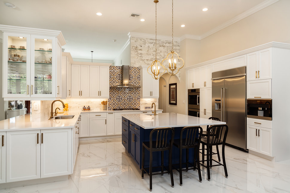 Beautiful luxury home kitchen with white