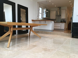 Travertine Kitchen floor cleaning Polish