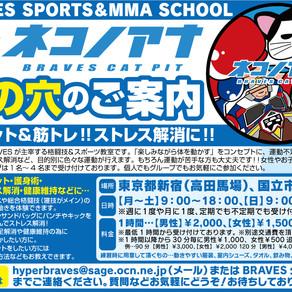 BRAVESスポーツ&格闘技教室「ネコノアナ」休止のお知らせ