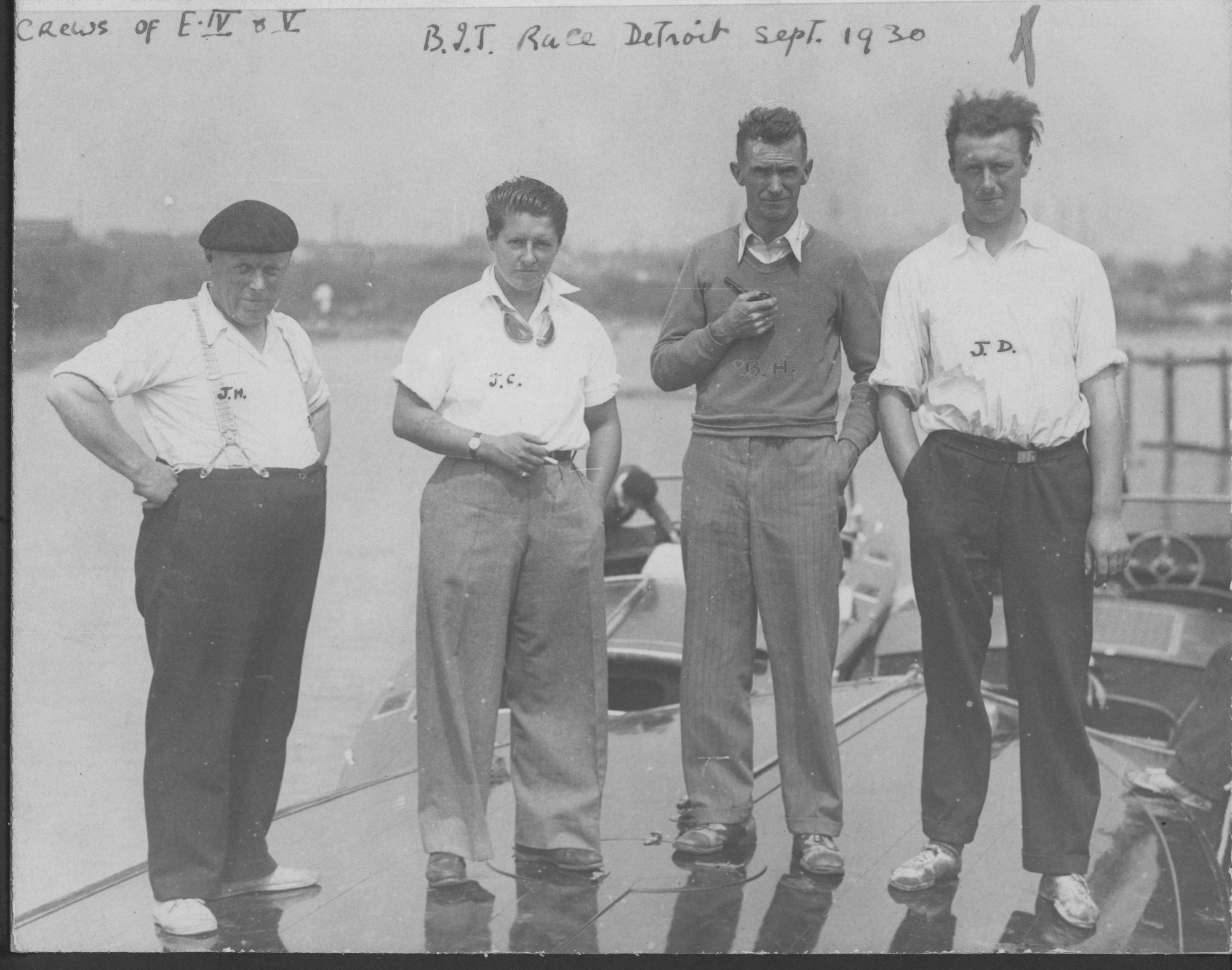 Crew of Estelle IV and V, British International Trophy race Detroit Sept. 1930