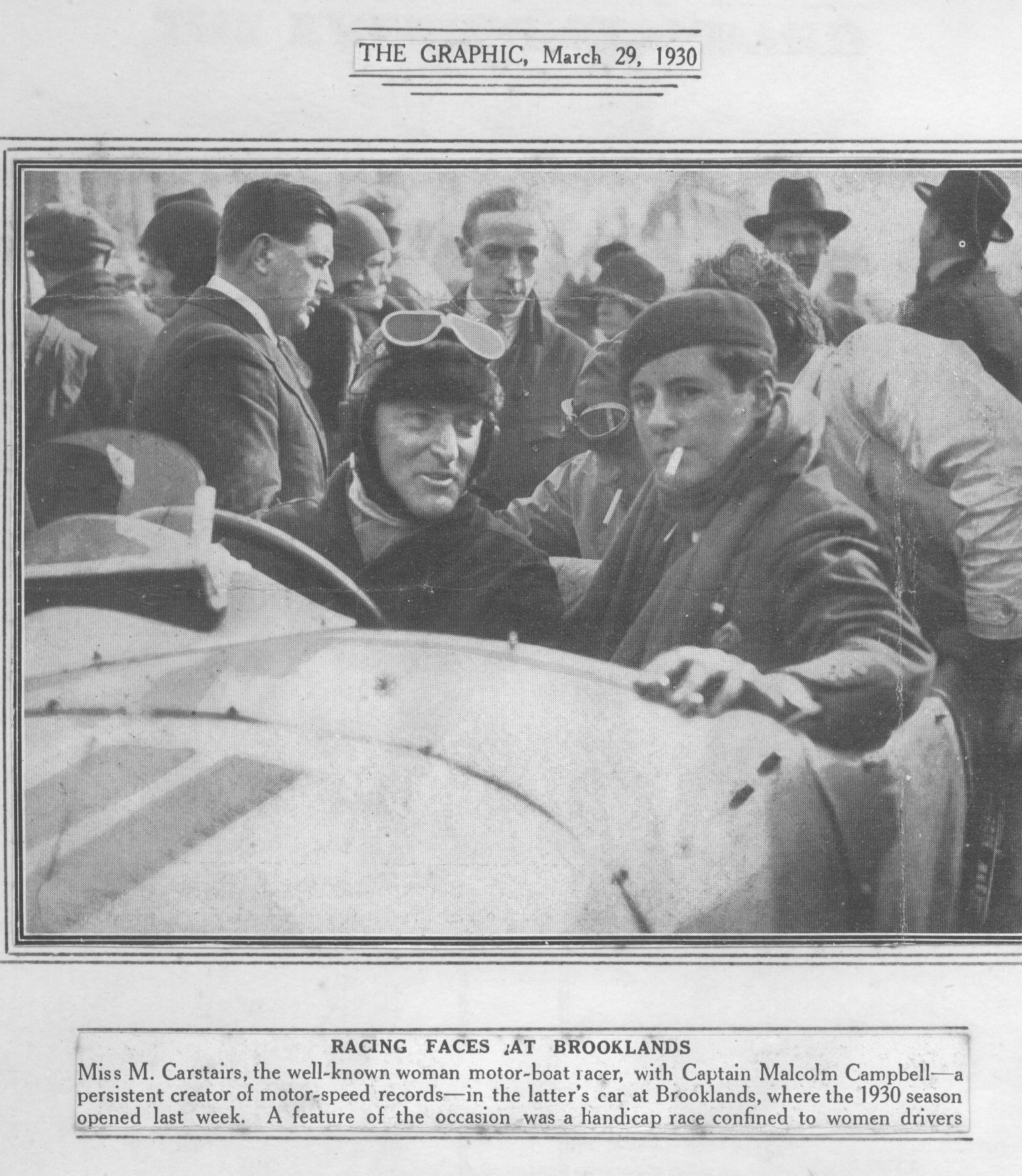 Joe Carstairs with Capt Malcolm Campbell, at Brooklands, March 1930