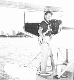 Joe and seaplane at Whale Quay