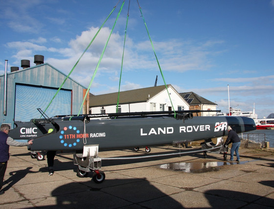 Land Rover BAR's America's Cup test boat 'T1' berths for the final time at the Classic Boat Museum i