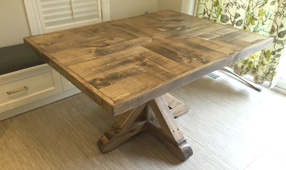 SQAURE RUSTIC TRAVERSE TABLE