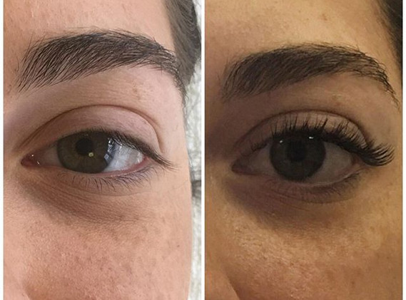 Before and after classic full set lashes