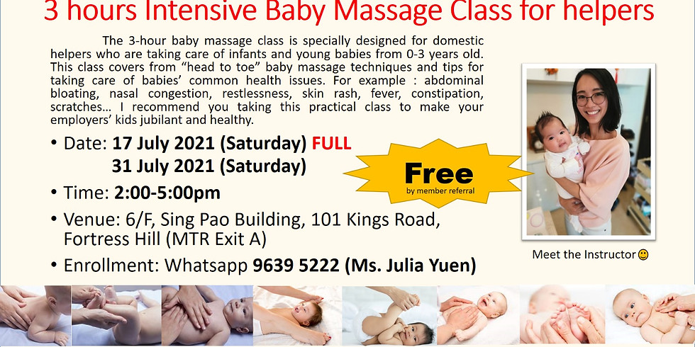 3 hours Intensive Baby Massage Class for helpers