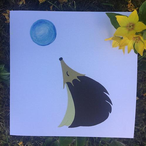 'Moon Gazing Hedgehog' greetings card
