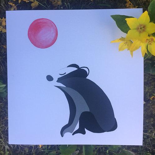 'Meditating Badger' greetings card