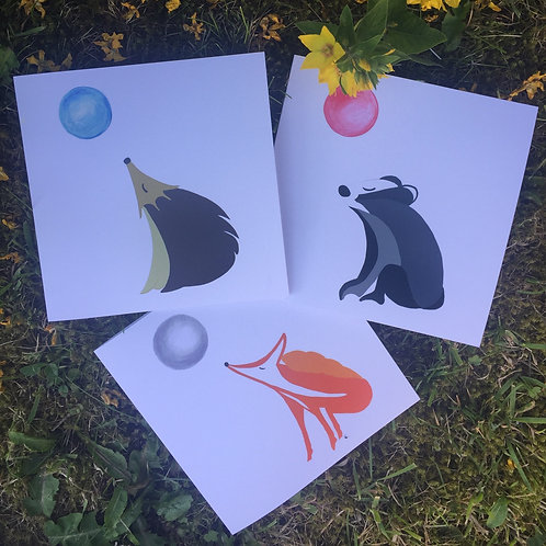 Pack of three 'Chillin' Nature' greetings cards