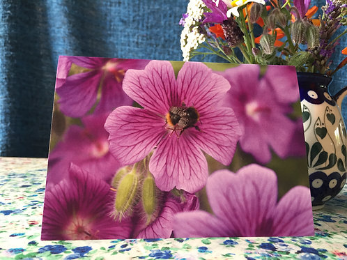 'Flower bee' greetings card