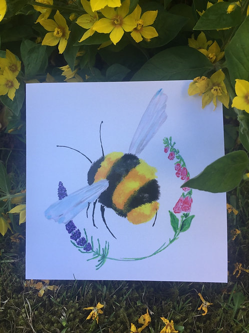 Pack of five 'Buzzy Bumbling' greetings card