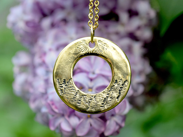 Sunny Forest Version 2 Round Washer Necklace